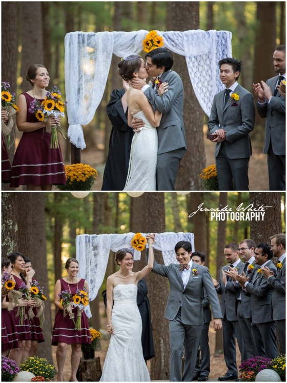New England summer camp wedding at Camp Wing in Duxbury MA by Jennifer White Photography